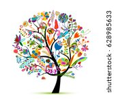 floral tree  sketch for your... | Shutterstock .eps vector #628985633