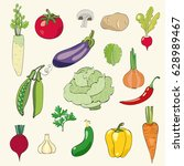 vegetables collection.  | Shutterstock .eps vector #628989467