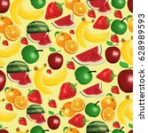 a pattern of fruits  different... | Shutterstock .eps vector #628989593