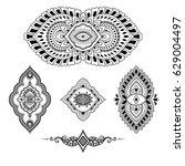henna tattoo flower template....   Shutterstock .eps vector #629004497