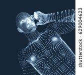 man in a thinker pose. 3d model ... | Shutterstock .eps vector #629004623