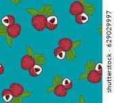 seamless pattern of lichee ... | Shutterstock .eps vector #629029997