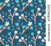 beautiful floral texture with... | Shutterstock .eps vector #629041103