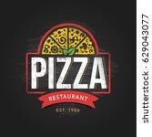 pizzeria logo template. vector... | Shutterstock .eps vector #629043077