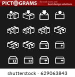 simple set of box and crates... | Shutterstock .eps vector #629063843