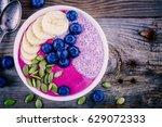 healthy breakfast  purple... | Shutterstock . vector #629072333
