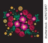 embroidery patch flowers... | Shutterstock .eps vector #629072897