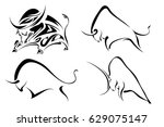 set of black images of wild... | Shutterstock .eps vector #629075147