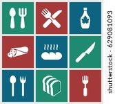 breakfast icons set. set of 9... | Shutterstock .eps vector #629081093