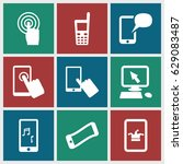 touchscreen icons set. set of 9 ... | Shutterstock .eps vector #629083487