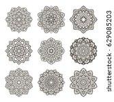 set of mandalas. ethnic... | Shutterstock .eps vector #629085203
