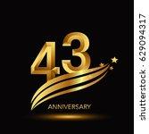 43 years anniversary... | Shutterstock .eps vector #629094317