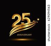25 years anniversary... | Shutterstock .eps vector #629094563