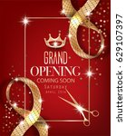 grand opening red background... | Shutterstock .eps vector #629107397