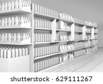 supermarket with shelf stopper. ... | Shutterstock . vector #629111267