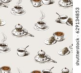 pattern of the coffee cups   Shutterstock .eps vector #629134853