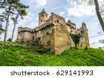 ancient castle on hill landscape | Shutterstock . vector #629141993