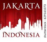 jakarta indonesia city skyline...   Shutterstock .eps vector #629161073