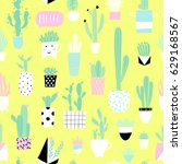 cute summer theme cactus... | Shutterstock .eps vector #629168567
