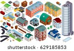 isometric map kit. buildings ... | Shutterstock .eps vector #629185853