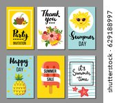 summer card collection  hand... | Shutterstock .eps vector #629188997
