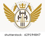 classy emblem made with eagle... | Shutterstock .eps vector #629194847