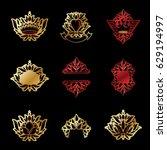 royal symbols  flowers  floral...   Shutterstock .eps vector #629194997