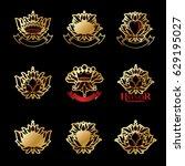 royal symbols  flowers  floral...   Shutterstock .eps vector #629195027