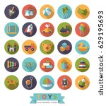 set of 25 round flat design... | Shutterstock .eps vector #629195693