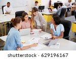 four young businesswomen... | Shutterstock . vector #629196167