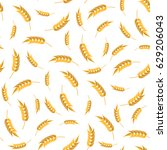 vector seamless wheat pattern.... | Shutterstock .eps vector #629206043