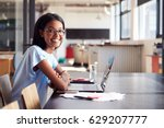 young black woman in office... | Shutterstock . vector #629207777