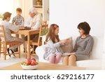 grandma talking with... | Shutterstock . vector #629216177