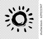 painted sun icon. yellow colour.... | Shutterstock .eps vector #629221547