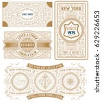 set of 4 vintage cards | Shutterstock .eps vector #629226653