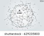 polygonal abstract world map.... | Shutterstock .eps vector #629235803