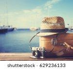 vintage suitcase  hipster hat ... | Shutterstock . vector #629236133