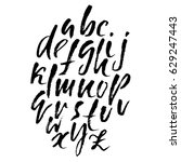 hand drawn dry brush font.... | Shutterstock .eps vector #629247443