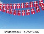 denmark flag festive bunting... | Shutterstock . vector #629249207