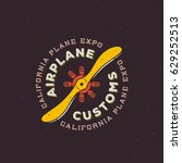 airplane customs vector retro... | Shutterstock .eps vector #629252513
