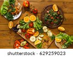 vegan and vegetarian food.... | Shutterstock . vector #629259023