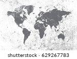 grunge world map. | Shutterstock .eps vector #629267783