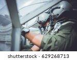 cockpit  flight deck  of modern ... | Shutterstock . vector #629268713