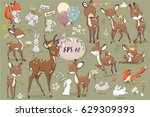 set with cute hares and deer | Shutterstock .eps vector #629309393