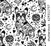 Stock vector vintage style traditional tattoo flash bulldog or pug dog seamless doodle pattern trendy stylish 629311757
