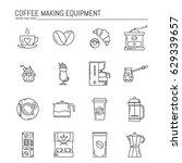 vector set of coffee making... | Shutterstock .eps vector #629339657