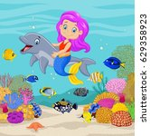 cute mermaid with dolphin in... | Shutterstock .eps vector #629358923