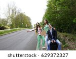 young people tourists... | Shutterstock . vector #629372327