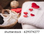 wellness decoration with red... | Shutterstock . vector #629374277