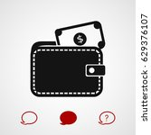 wallet with dollars icon ... | Shutterstock .eps vector #629376107